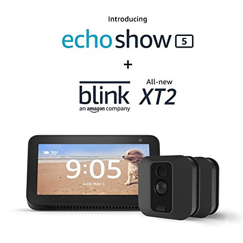 Echo Show 5 (Charcoal) with Blink XT2 Outdoor/Indoor Smart Security Camera – 2 camera kit