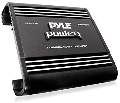 2 Channel Car Stereo Amplifier – 2000W Dual Channel Bridgeable High Power MOSFET Audio Sound Auto Small Speaker Amp Box w/ Crossover, Bass Boost Control, Silver Plated RCA Input Output – Pyle PLA2378, Black