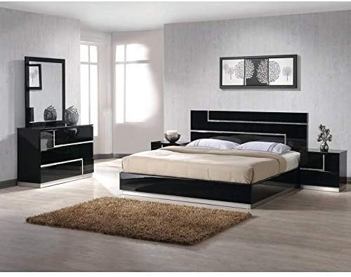 Best Master Furniture 5 Pcs Modern Platform Bed Set, Cal. King, Black