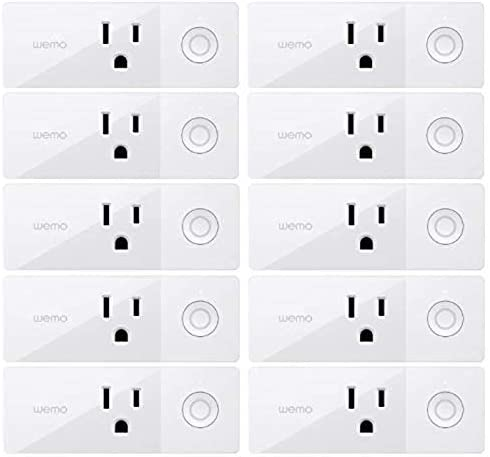 Wemo Mini Smart Plug (10-Pack), Wi-Fi Enabled, Compatible with Alexa and Google Home (F7C063-RM2) (Renewed)