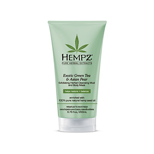 Hempz Exfoliating Herbal Cleansing Mud and Body Mask, Light Green, Exotic Green Tea/Asian Pear, 6.76 Fluid Ounce