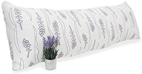 Lavender Luxury. Shredded Memory Foam Body Pillow for Sleeping with Memory Foam and Gel Fiber Blend. Bed Pillows for Sleeping. CertiPur-US. (Unscented) (Body Pillow)