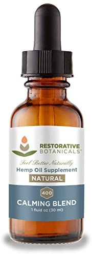 High Strength Hemp Oil for Anxiety and Pain Relief – 400mg Delicious Pure Hemp Flavor 1 Ounce – 30ml 60 Servings – Restorative Botanicals – Also Supports Healthy Sleep Patterns, Mental Clarity