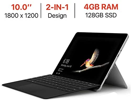 Microsoft Surface Go 10'' Touchscreen (1800×1200) PixelSense Display w/Surface Type Cover, Intel Pentium Gold 4415Y Facial Recognition USB-C Windows Ink Active Windows 10 S Mode 4GB RAM 128GB SSD