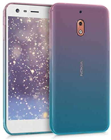 kwmobile TPU Silicone Case Compatible with Nokia 2.1 (2018) – Crystal Clear Smartphone Back Case Cover – Bicolor Dark Pink/Blue/Transparent