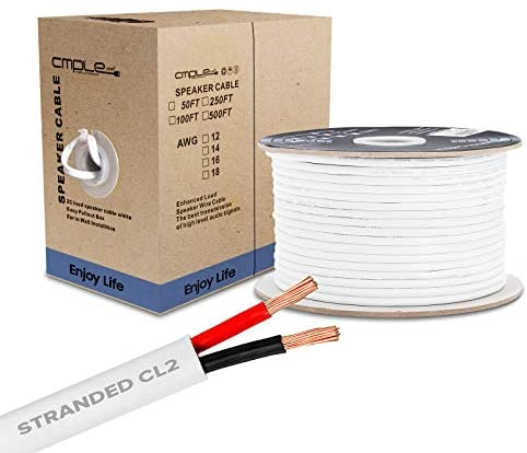 Cmple – 250FT 12AWG Speaker Wire Cable with 2 Conductor Speaker Cable (CCA) Copper Clad Aluminum CL2 Rated In-Wall Speaker Wire for Home Theater & Car Audio – 250 Feet, White