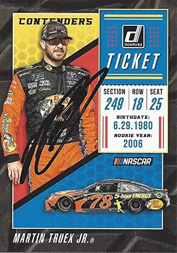 AUTOGRAPHED Martin Truex Jr. 2019 Panini Donruss Racing CONTENDERS TICKET (#78 Bass Pro Shops Team) Monster Cup Series Signed NASCAR Collectible Trading Card with COA