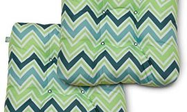 Duck Covers Water-Resistant 19 x 19 x 5 Inch Indoor Outdoor Seat Cushions, Mint Marine Chevron, 2-Pack