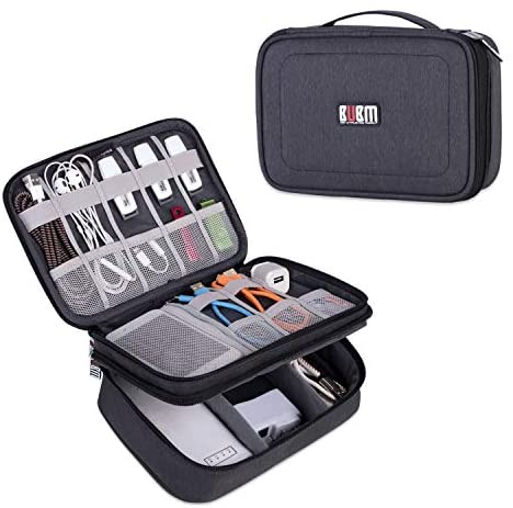 BUBM Electronic Organizer, Double Layer Travel Gadget Storage Bag for Cables, Cord, USB Flash Drive, Power Bank and More-a Sleeve Pouch for 7.9″ iPad Mini(Medium,Black)