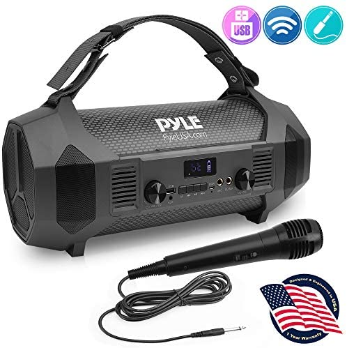 Wireless Portable Bluetooth Boombox Speaker – 600W Rechargeable Boom Box Speaker Portable Barrel Loud Stereo System with AUX Input, USB, 1/4″ Mic in, Fm Radio, Dual 4″ Subwoofer – Pyle PBMSPG122