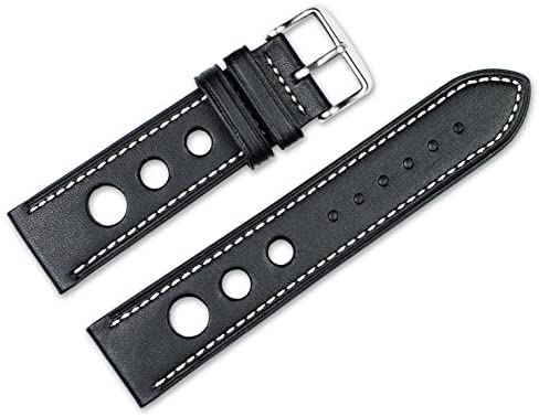 22mm Replacement Leather Watch Band – Leather Grand Prix – Black w/White Stitching Watch Strap