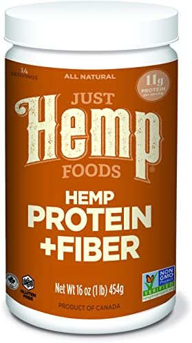 Just Hemp Foods Hemp Protein Powder Plus Fiber, Non-GMO Verified with 11g of Protein & 11g of Fiber per Serving, 16 oz – Packaging May Vary