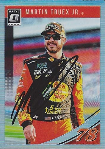 AUTOGRAPHED Martin Truex Jr. 2019 Panini Donruss Optic Racing (#78 Bass Pro Shops Team) Monster Cup Series Chrome Prizm Insert Signed NASCAR Collectible Trading Card with COA