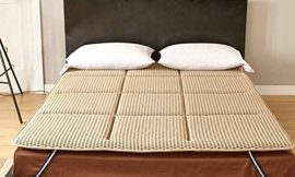 WJH Japanese Tatami Futon, Fluffy Breathable Mattress, Double Sleeping Pad Breathe Mattress Topper Protector-Light tan 60X120cm(24x47inch)