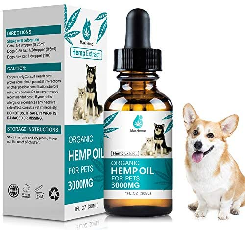 MaxHemp Organic Oil Drops for Dogs Cats – 100% Natural Extract – Relaxation Vegan Friendly