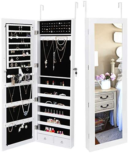 SUPER DEAL Jewelry Armoire Lockable Jewelry Cabinet Wall/Door Mounted Jewelry Organizer with Full Length Mirror and Drawers – 14.5W x 48H in – Frosty White (White)