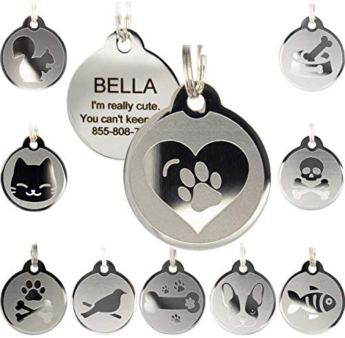 Custom Engraved Stainless Steel Pet ID Tags – Engraved Personalized Identification Durable & Long Lasting Dog Tags, Cat Tags