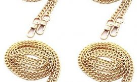 Model Worker 4PCS 47″ DIY Iron Flat Chain Strap Thin Dainty Finished Handbag Chains Accessories Purse Straps Shoulder Cross Body Replacement Straps with Metal Buckles (Gold)