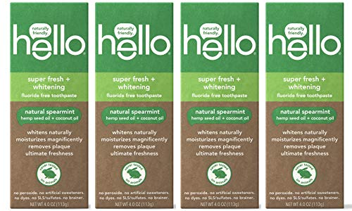 Hello Oral Care Hemp seed oil sls free fluoride free toothpaste, 4 Count