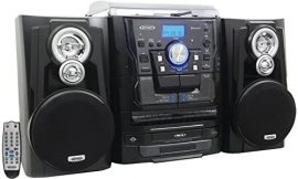 JENSEN JMC-1250 Bluetooth(R) 3-Speed Stereo Turntable Music System with 3-CD Changer & Dual Cassette Deck electronic consumer Electronics