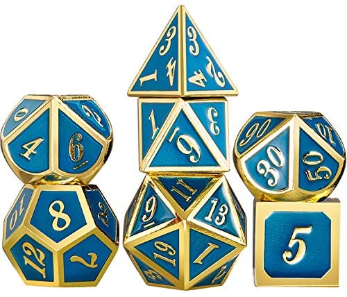 TecUnite 7 Die Metal Polyhedral Dice Set DND Role Playing Game Dice Set with Storage Bag for RPG Dungeons and Dragons D&D Math Teaching (Shiny Gold and Blue B)