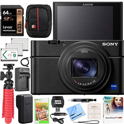 Sony Cyber-Shot RX100 VII RX100M7 Premium Compact Camera DSC-RX100M7 Enhanced Bundle with Triple 3X Battery Pack + 64GB Memory Card + Deco Gear Travel Case Accessory Kit & Photo Video Software