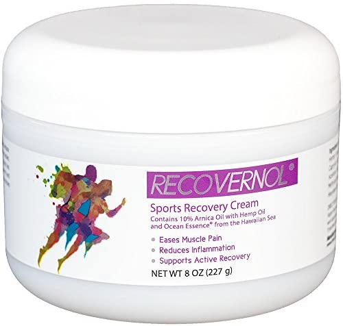 Recovernol Sports Recovery Cream | Fortfied with 10% Arnica, MSM, Hemp & Coconut Oil, Vitamins A & E Plus Ocean Essence Minerals | Supports Joint, Tendon, Ligament & Muscle Repair and Recovery (8 oz)