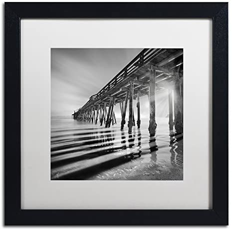 Pier and Shadows by Moises Levy in White Matte and Black Framed Artwork, 16 by 16″