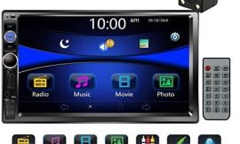 Regetek Car Stereo Double Din 7″ Touchscreen in Dash Stereo Car Audio Video Player Bluetooth FM AM Radio Mp3 /TF/USB/AUX-in/Subwoofer/Steering Wheel Controls + Remote Control+Rear View Camera