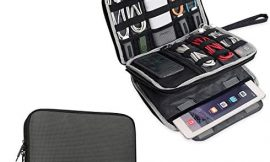 BUBM Double Layer Electronics Organizer/Travel Gadget Bag for Cables, Memory Cards, Flash Hard Drive and More, Fit for iPad or Tablet(up to 9.7″)-Large, Grey