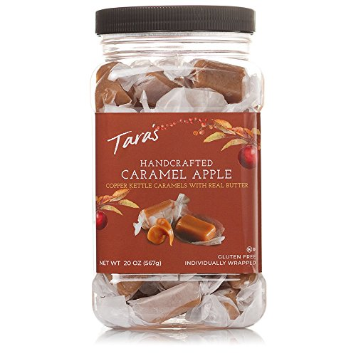 Tara's All Natural Handcrafted Gourmet Caramel Apple Flavored Caramels: Small Batch, Kettle Cooked, Creamy & Individually Wrapped – 20 Ounce