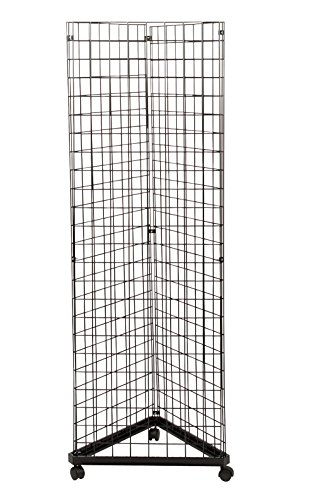 Black Triangle Wire Grid and Grid Wall Tower with Base and Casters