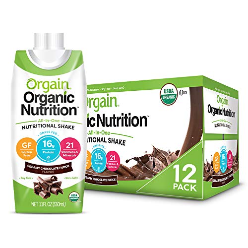 Orgain Organic Nutritional Shake, Creamy Chocolate Fudge – Meal Replacement, 16g Protein, 21 Vitamins & Minerals, Gluten Free, Soy Free, Kosher, Non-GMO, 11 Ounce, 12 Count (Packaging May Vary)