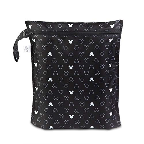 Bumkins Disney Waterproof Wet Bag, Washable, Reusable for Travel, Beach, Pool, Stroller, Diapers, Dirty Gym Clothes, Wet Swimsuits, Toiletries, Electronics, Toys, 12×14 – Mickey Mouse Icon