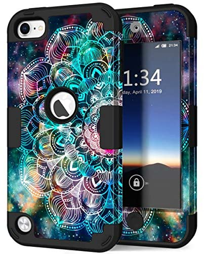 Hocase iPod Touch 7/6/5 Case, Shockproof Heavy Duty Hard Plastic Bumper+Soft Silicone Rubber Hybrid Dual Layer Protective Case for iPod Touch 7th/6th/5th Generation – Mandala in Galaxy