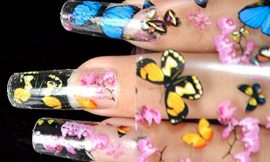 Nail Art Transfer Foil Stickers Decorations Decals Plastic Nail Tools Colorful Flying Butterflies Begonia Flowers Design NO GLUE 653