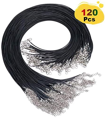 EuTengHao 120Pcs Black Waxed Necklace Cord with Lobster Clasp Bulk for Bracelet Making Necklaces Jewelry Making Supplies Accessories (20 inches Long and 1.5mm Width)