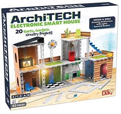 SmartLab Toys Archi-Tech Electronic Smart House – 62 Pieces – 20 Projects – Includes Light and Sound, Multicolor, 16 x 10 x 9″