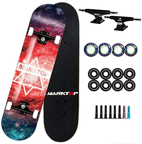 LHYCM Complete Skateboard, Beginner Skateboard 3-Layer Maple Cold-Pressed Hollow Bracket Suitable for Men and Women 31″ 8″ Double-Warped Skateboard Cruiser
