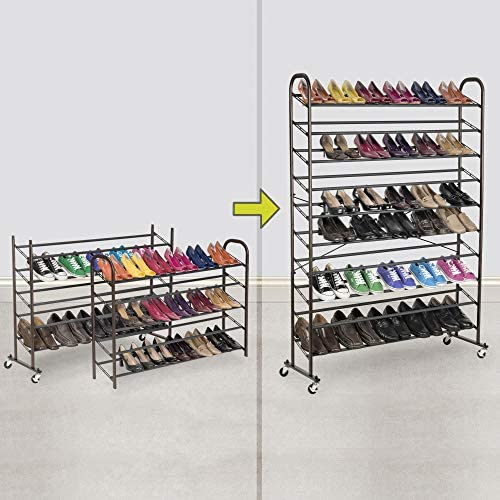 Smart Design 10-Tier Steel Metal Shoe Rack Tower w/Rolling Wheels – Holds 60 Pairs of Shoes – Easy Assembly & Adjustable – Entryway, Closet, Garage – Home Organization (44 x 60 Inch) [Bronze]