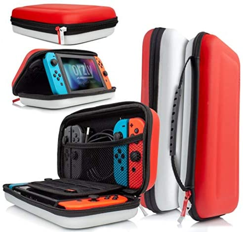 Orzly case for Nintendo Switch – Portable Travel carry case with storage for Switch console games & accessories [Red & White edition]