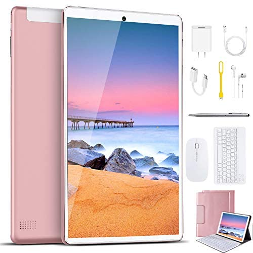 Tablet 10 Inch, Android 9.0 Pie Tablets with Wireless Keyboard Case and Mouse, 3GB RAM 64GB ROM, Quad Core, Google GMS Certified, IPS HD Display, 8MP Dual Camera, Dual 4G SIM, 8000mAh, WiFi – Pink