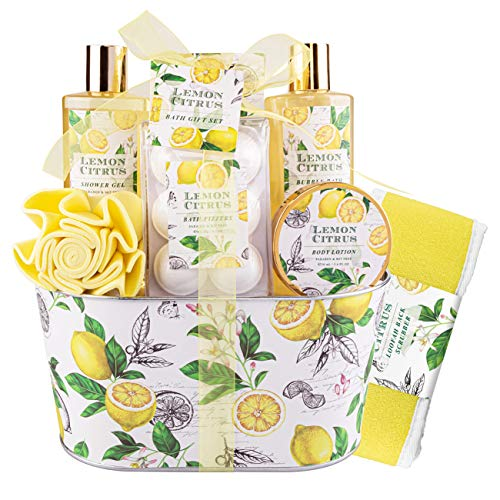 Bath & Shower Gift Set, Lemon Citrus Scent, Spa Gift Basket Kits for Women & Men, Best Gift Idea for Her, Birthday,Wedding & Anniversary Gift, 8Pcs