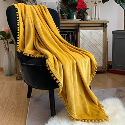 LOMAO Flannel Blanket with Pompom Fringe Lightweight Cozy Bed Blanket Soft Throw Blanket fit Couch Sofa Suitable for All Season (51×63) (Mustard Yellow)