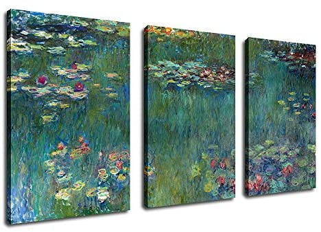 Canvas Wall Art Water Lilies by Claude Monet Painting Prints Extra Large Contemporary Artwork Modern Canvas Pictures for Home Office Wall Decor Living Room Bedroom Decoration 30″ x 60″