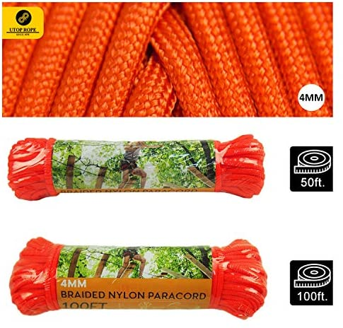 Utop Braided Nylon Paracord, Type III, 4mm Thick, para Cord 550 | 7 Strand Core Parachute Rope for Camping Hiking | All Purpose Utility Rope