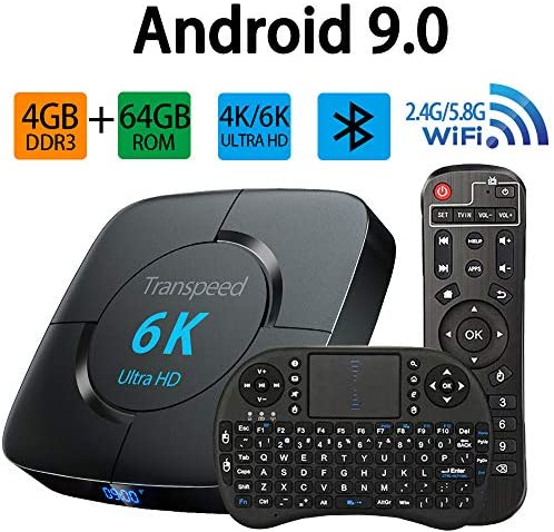 Android Tv Box 9.0, TV Box 2.4G 5.8G Dual Band WiFi 4GB 64GB with Bluetooth Converter TV Box Support 3D 4K 6K Ultra HD H.265 USB 3.0 with Mini Keyboard Set Top TV Box