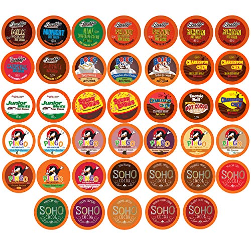 Two Rivers Chocolate Hot Cocoa Pods, Single Serve Variety Sampler Pack Compatible with 2.0 Keurig K-Cup Brewers, 40 Count – Largest Assorted Hot Cocoa