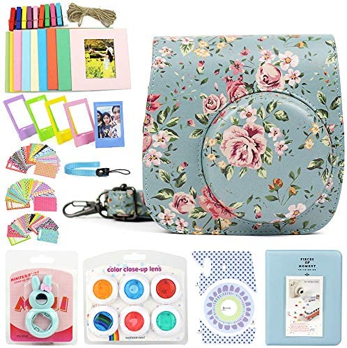 WOGOZAN 9 in 1 Case Accessories Package Fujifilm Instax Mini 9 Mini 8+ Mini 8 (Rose Blue Kit)