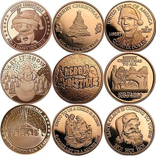 Christmas Series 1 oz .999 Pure Copper Round/Challenge Coin (Complete Set of 6 Snowflake Back Designs)